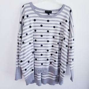 Lane Bryant Women's Polka Dot Striped Sweater Gray
